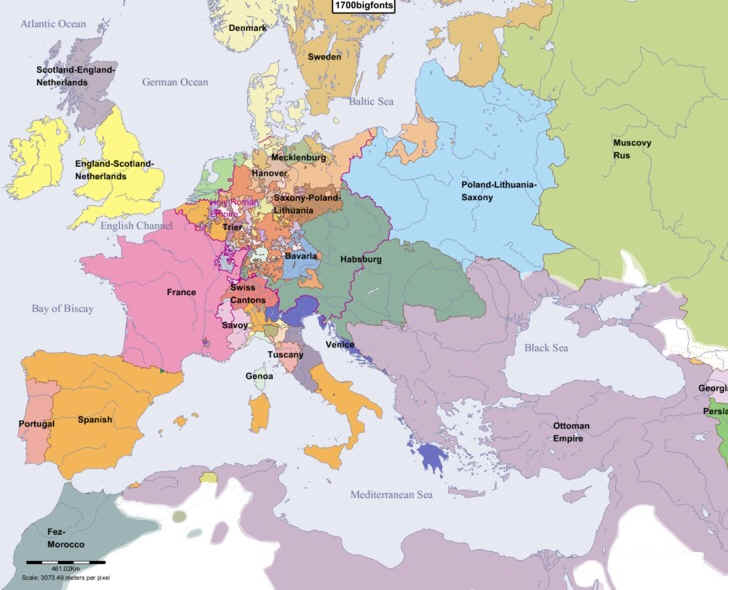 Hist100 maps of europe from 1500 2000 europe in year 1700g publicscrutiny Image collections